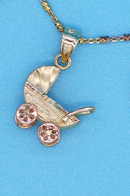 14 K Yellow Gold Baby Carriage Charm