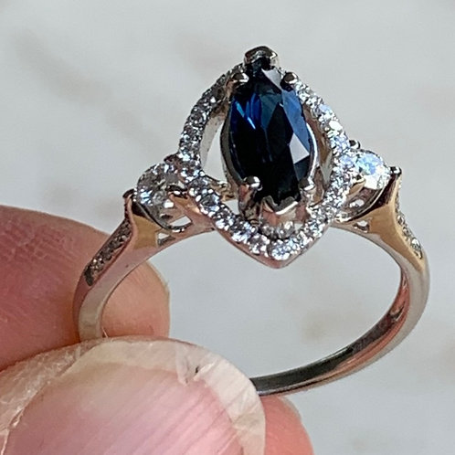 18 K White Gold Marquise Cut Sapphire Ring with Pave Diamonds
