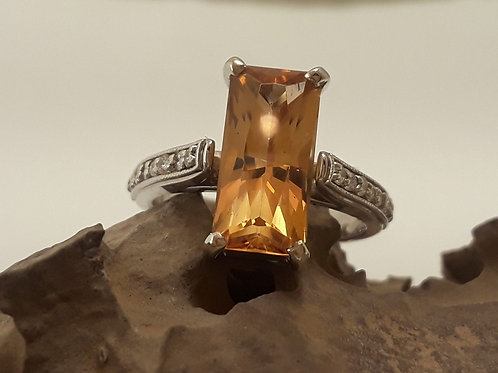 Genuine Untreated Brazilian Imperial Topaz 14k White Gold and Diamonds Ring
