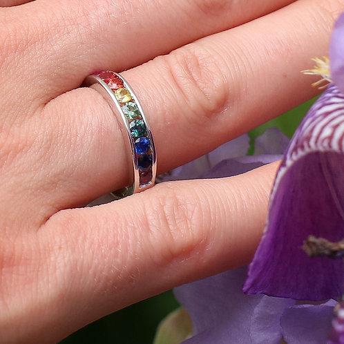 Sterling Silver Rainbow Sapphire Band
