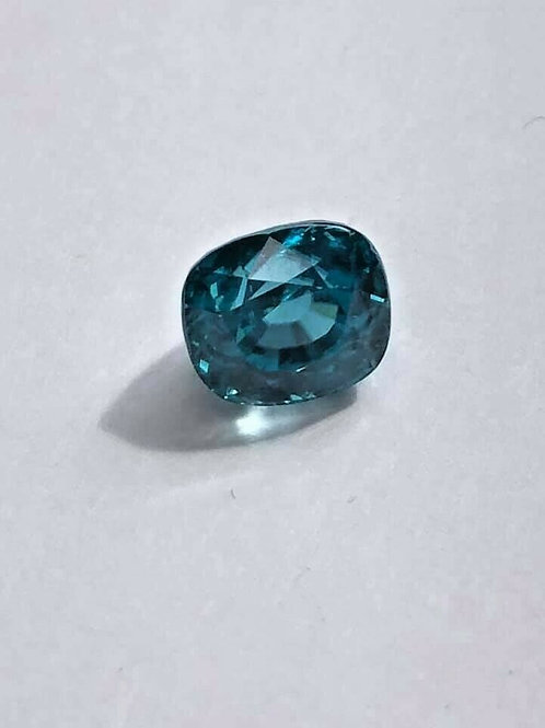 6.46 CT Blue Zircon Cushion Cut Bright Blue Natural Gemstone