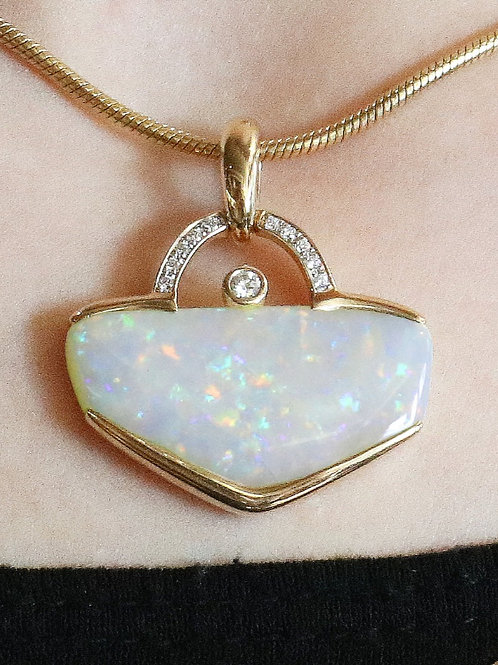 14 K Yellow Gold Artisan Designed Opal & Diamond Pendant