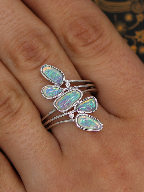 14 K White Gold Modern Ring with 5 Opals and Diamonds