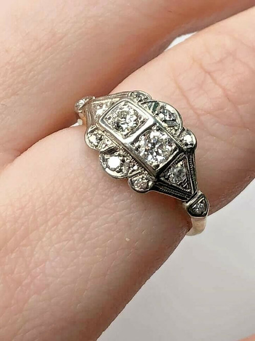 Antique Two Tone Gold Ring With Natural Diamonds Delicate Ring