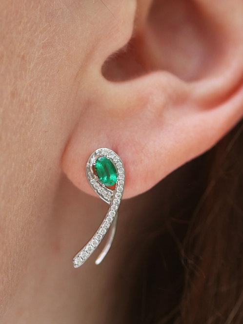14 K White Gold Ear Crawler Earrings Natural Emerald and Diamond