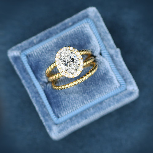 18 K Yellow Gold Halo Rope Style Engagement Ring Mounting