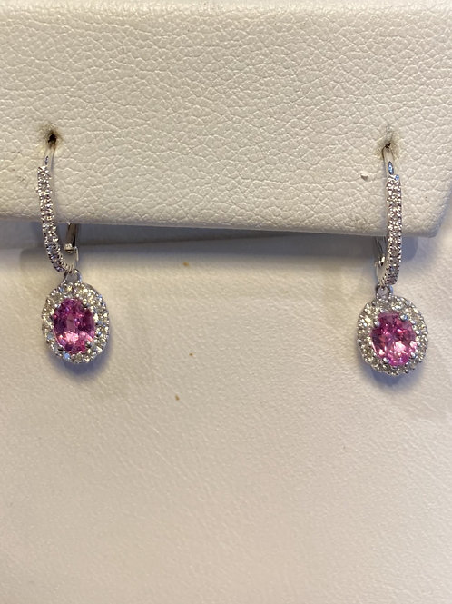 Pretty in Pink Sapphire and Diamond Earrings
