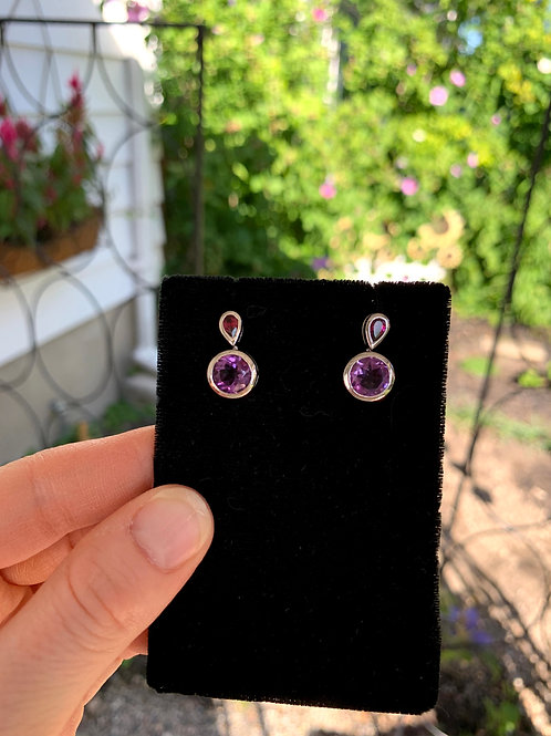 Silver & Amethyst Earrings with Teardrop & Circle Stones