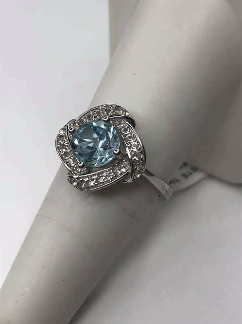 Blue Topaz with White Topaz Sterling Silver Twist Design Fashion Ring