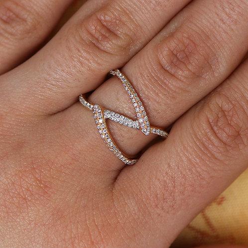 18 Karat Rose Gold and White Gold Pink Diamond Wrap Band