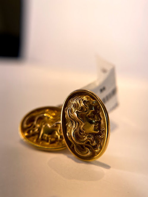 14 K Gold Cuff Links with Profile Portraits