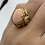 Thumbnail: 14 K Yellow Gold Vintage Leaf Design Ring with Pale Coral Cabochon