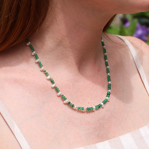 Vintage Emerald Bead Necklace with Pearls and 14 K Gold Clasp