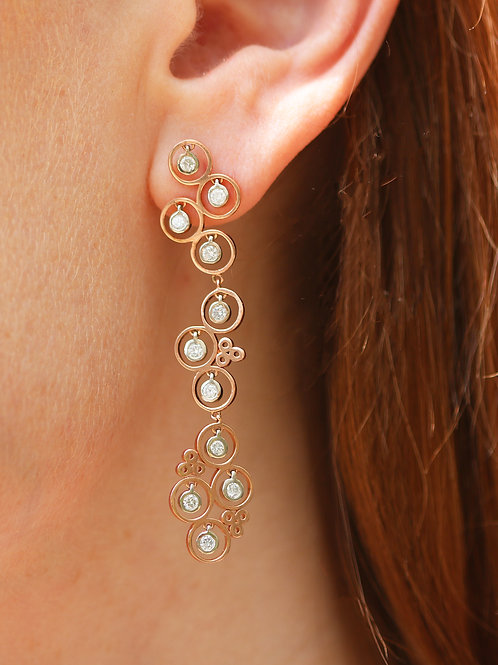 14 K Rose Gold Bubble Dangle Drop Earrings with Lab Created Diamonds