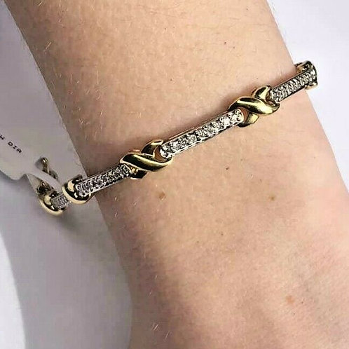14 K Two Tone X Bracelet with Diamonds and Gold Accents