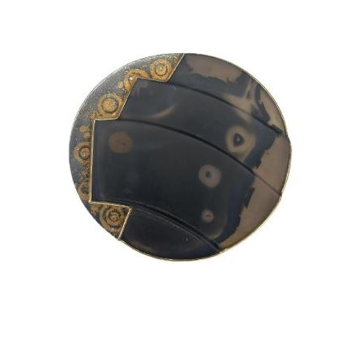 Michael Zobel Pure Gold & Oxidized Silver, Agate & Diamond Brooch/Pendant
