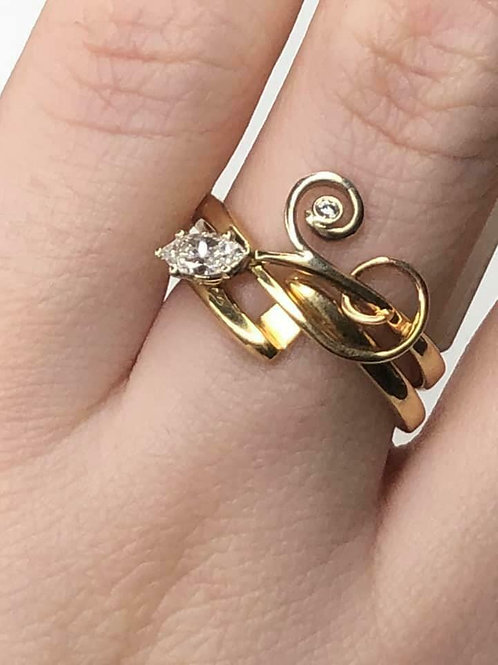14 K Gold with Diamonds Modern Style Custom Twist Vine Ring