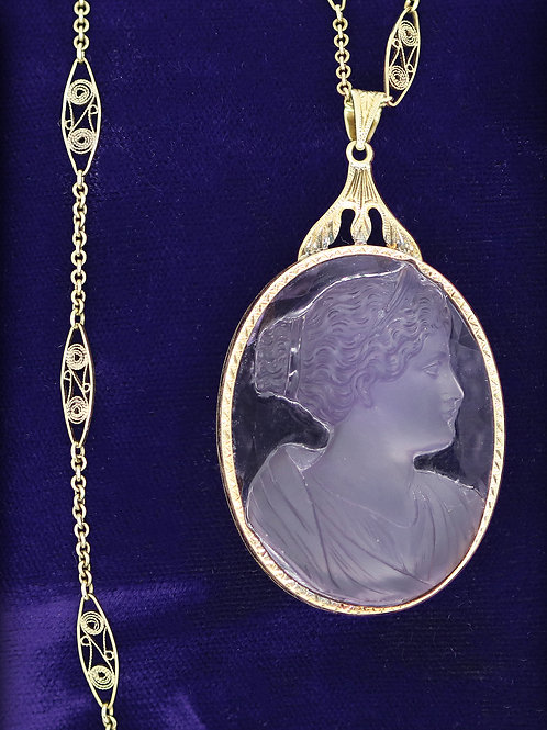 Edwardian Rose de France Amethyst Cameo Necklace 14 K Yellow Gold