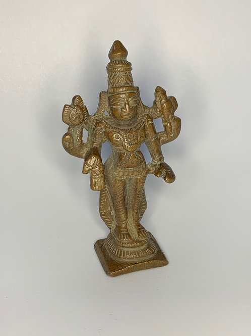 19th Century Bronze Southern Indian Lord Vishnu Miniature Votive Sculpture