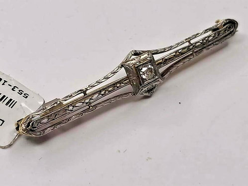 14 K Vintage Diamond Filigree Art Deco Brooch Pin