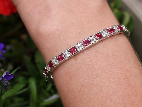 14 K White Gold Ruby & Diamond Tennis Bracelet