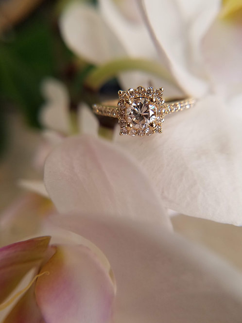 14 K Yellow Gold & Diamond Engagement Ring Round Cut with Floral Square