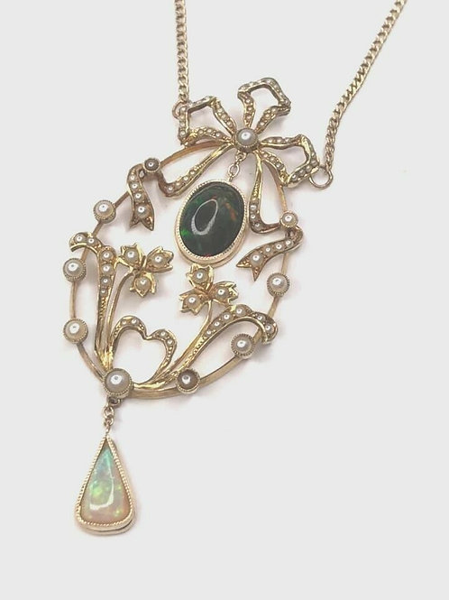 Vintage 14 K Yellow Gold Seed Pearl & Opal Art Nouveau Necklace