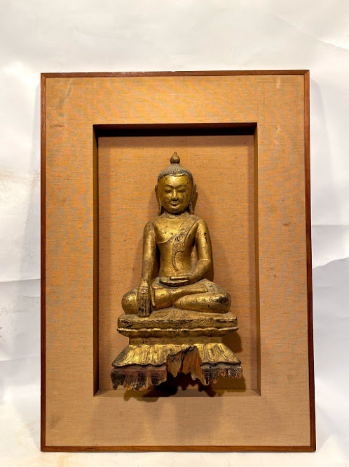 Antique Thai Buddha Sculpture Temple Wall Piece