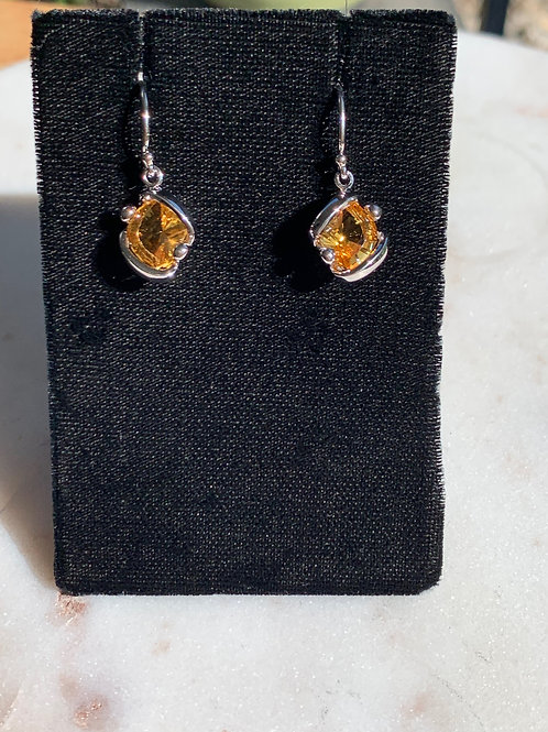 Silver & Golden Citrine Organic Asymmetrical Earrings