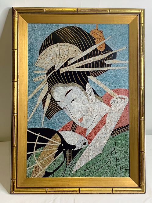 Meiji Japanese Art Deco Eggshell and Lacquer Painting of Geisha
