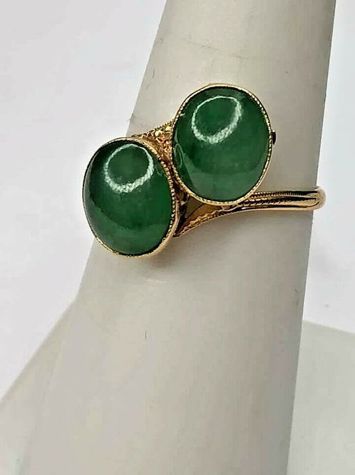 Vintage 18 K Yellow Gold Double Stone Water Jade Ring