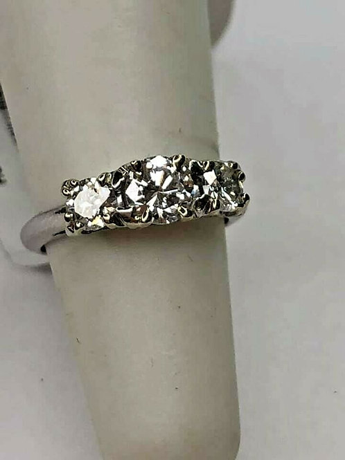 Platinum 3 Stone Anniversary Band with Natural Diamonds 1cttw VS2 H Color