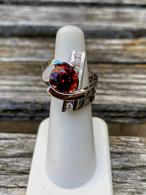 14 K White Gold Modern Style Large Garnet Custom Ring with Diamonds 80s