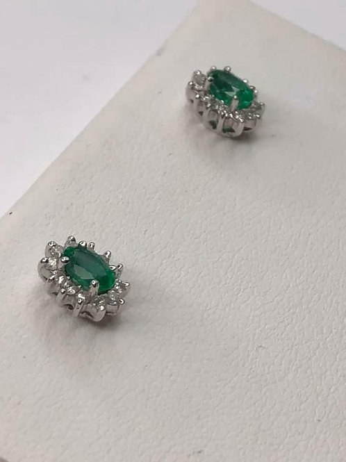 14 K White Gold Halo Style Emerald & Diamond Stud Earrings, Natural Stones