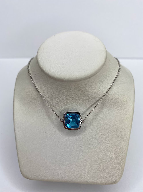 Platinum Silver Blue Topaz 2.52 Carat Necklace
