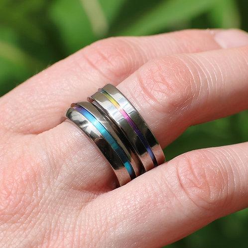 Flat Titanium Unisex Rainbow Wedding Band