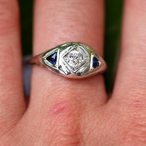 18 Karat White Gold Antique Diamond & Sapphire Engagement Ring