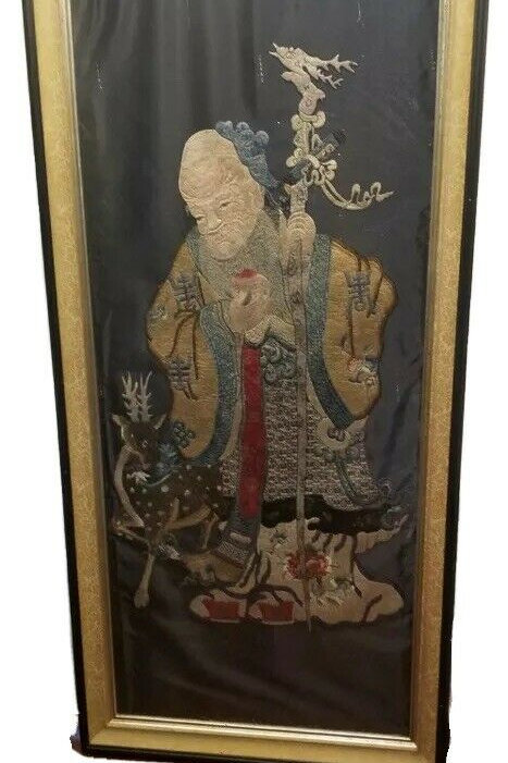 Large Chinese 18th -Early 19th Century Embroidery of Lao Tsu