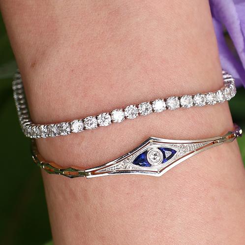 14 K White Gold 6.29 Carat Fine Diamond Tennis Bracelet