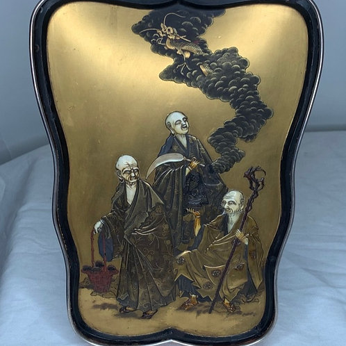 Meiji Japanese 19th Century Inlaid Lacquer Panels with 3 Sage Immortals