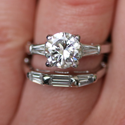 Antique 1920s Platinum Diamond Engagement Ring with Band