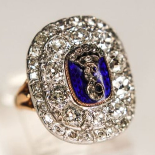 Catherine the Great Cipher Pin Russian Imperial Diamond Ring