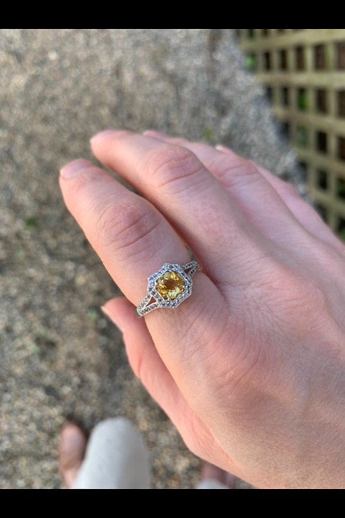 Silver & Golden Citrine Delicate Art Nouveau Inspired Ring