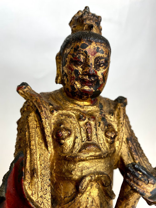 Antique Ming Dynasty Figure Statue Gilded Bronze