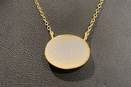 Gold Plated Sterling Silver White Sparkly Druzy Necklace