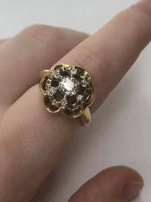 Flower Style Vintage 14K gold ring with Natural diamonds .83 ct VS2 I-J color