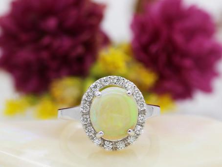 Dimensional Sparkle: Opal & Diamond Ring