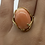Thumbnail: 14 K Yellow Gold Pink Coral Cabochon Ring with Freeform Modern Gold Setting