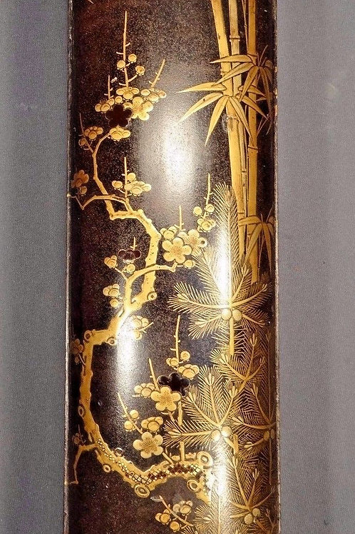 "Edo Period Japanese Lacquer ""Three Friends of Winter"" Document Box"