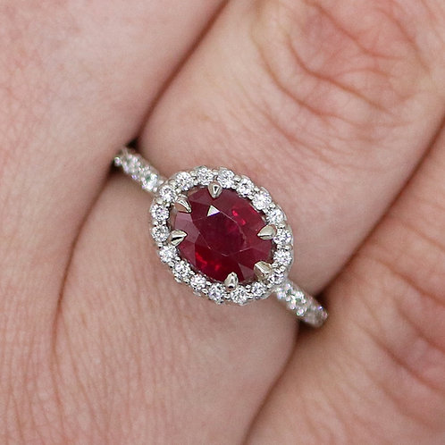 14 K White Gold Diamond Halo Ring with 1.5 Carat Ruby Center Stone